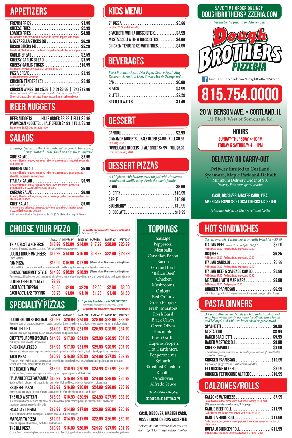 Dough Brothers Pizzeria Complete Menu and Kids Menu with Prices